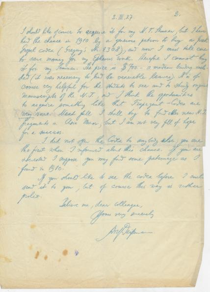 Deissmann to Robertson_2 Mar 1927_page 2