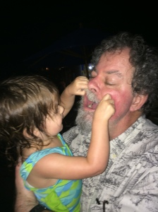 Mary inspecting Grandpa's mouth